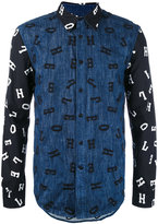 House of Holland embroidered letter shirt - men - Cotton/Polyester - S