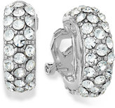 Lauren Ralph Lauren Silver-Tone Pave Crystal Small Hoop Clip On Earrings