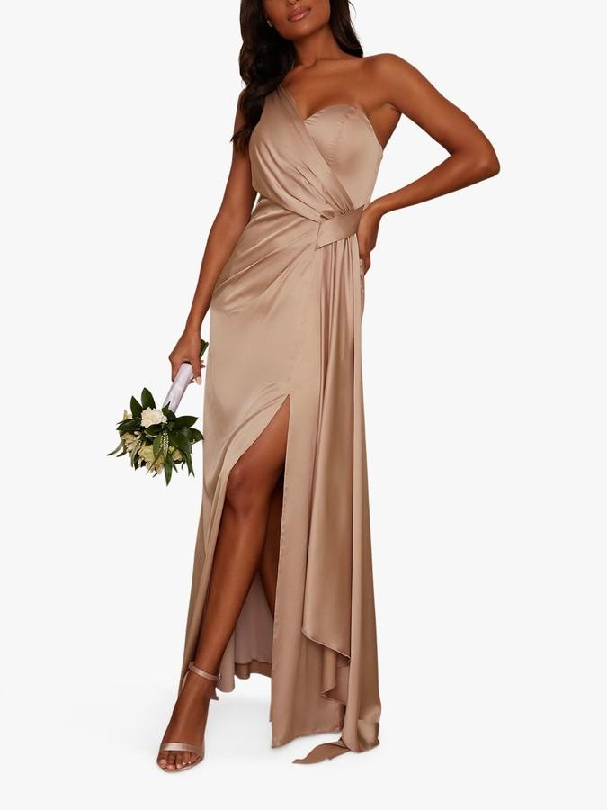 Chi Chi London Tasha One Shoulder Dress, Champagne