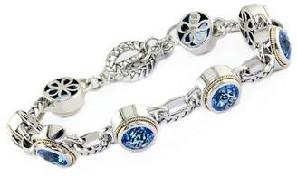 Effy Fine Jewelry Silver & 18K 19.00 Ct. Tw. Blue Topaz Bracelet
