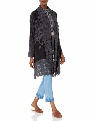 Johnny Was Women's Long Sleeve Rayon Tonal Embroidered Jacket