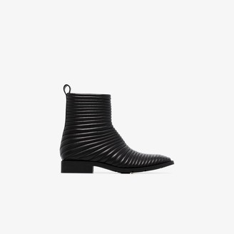 Balenciaga Black leather padded biker boots