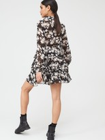 In The Style X Stephsa Black Floral Print Button Down Tiered Day Dress - Black/White/Floral