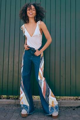 Free People Stick By Your Side Patched Wide-Leg Jean