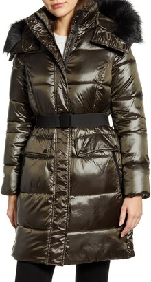 Sam Edelman Belted Faux Fur Detail Hooded Puffer Coat