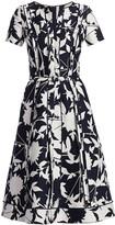 Oscar de la Renta Short-Sleeve Floral Day Dress