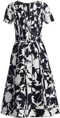 Oscar de la Renta Short-Sleeve Floral Day Dress