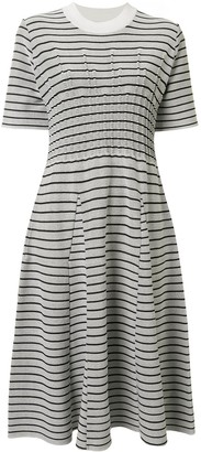 AKIRA NAKA Striped Flared Dress