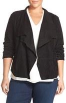 Bernardo Plus Size Women's Drape Front Goat Suede Jacket