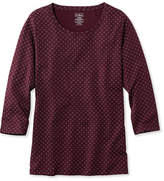 L.L. Bean Pima Cotton Shaped Jewelneck Tee, Three-Quarter-Sleeve Foulard Print