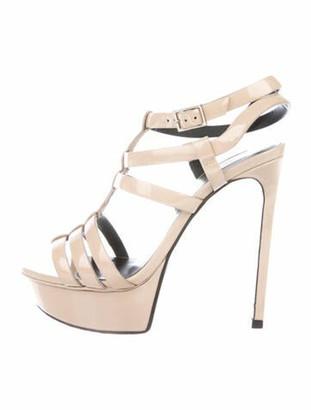 Saint Laurent Tribute 105 Patent Leather Sandals Nude