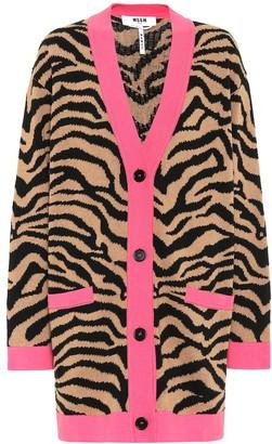 MSGM Leopard-print cotton-blend cardigan