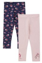 F&F 2 Pack of Bird and Floral Leggings, Girl's