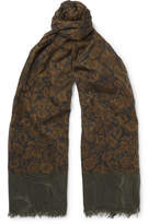 Dries Van Noten Fringed Printed Cotton Scarf