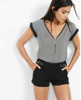 Express mesh print zip front blouse