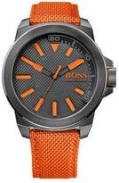 BOSS ORANGE Men's Round Nylon Strap Watch, 50Mm