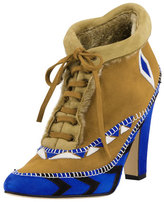 Manolo Blahnik Eskima Suede Moccasin Ankle Boot, Francia Blue