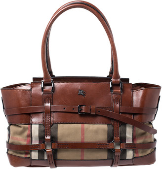 Burberry Brown Leather Bridle House Check Canvas Satchel