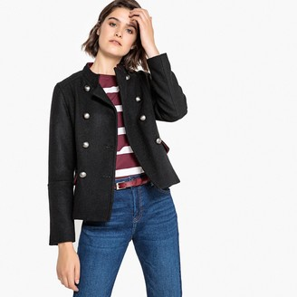 La Redoute Collections Double-Breasted Military Jacket in Wool Mix