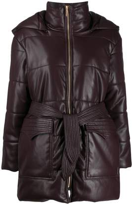 Nanushka belted puffer jacket
