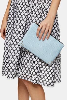 Topshop CORE Blue Zip Top Pouch Clutch Bag