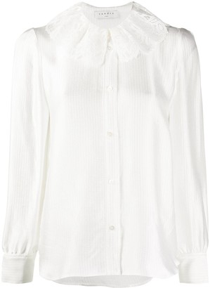 Sandro Paris Embroidered Collar Long-Sleeved Shirt