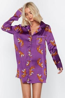 Nasty Gal Womens Fangs for Everything Satin PJ Night Shirt - Purple - 6, Purple