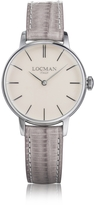 Locman 1960 Silver Stainless Steel Women's Watch w/Light Purple Croco Embossed Leather Strap
