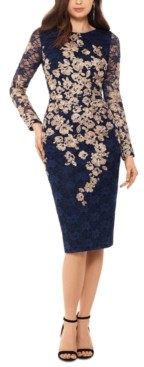 Xscape Evenings Lace-Detail Long-Sleeve Sheath Dress