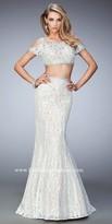 La Femme Two Piece Cold Shoulder Lace Prom Dress