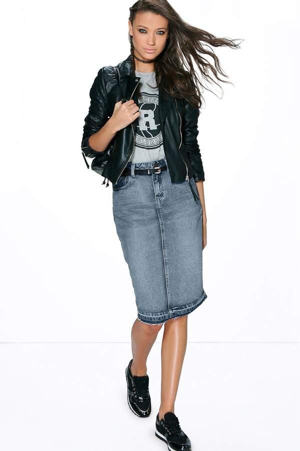 boohoo Tall Sadie Denim Washed Midi Skirt mid blue