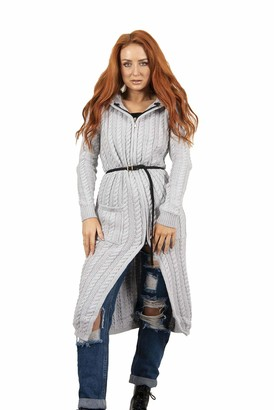 Hamishkane Ladies Cable Knitted Longline Hooded Cardigan Zip Front Belted Winter Long Sweater Grey