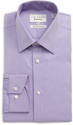 Ted Baker Herringbone Four-Way Stretch Endurance Trim Fit Dress Shirt