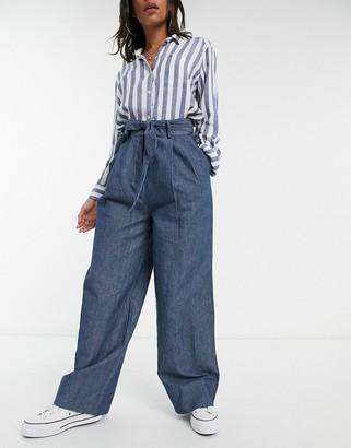 ELVI denim wide leg trousers in blue