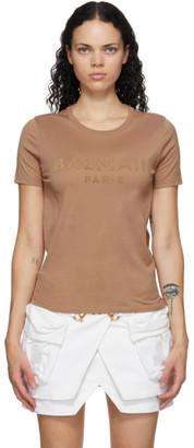 Balmain Beige Logo T-Shirt