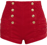 Pierre Balmain Button-detailed Quilted Denim Shorts - Red