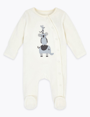 Marks and Spencer Cotton Rich Velour Animal Sleepsuit (7lbs-12 Mths)