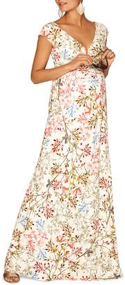 Tiffany & Co. Rose Maternity Leaf-Print V-Neck Cap-Sleeve Maxi Dress