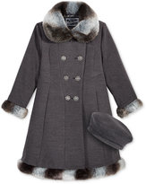 S. Rothschild 2-Pc. Textured Hat & Skater Coat with Faux-Fur Trim Set, Toddler Girls (2-6X) & Little Girls (2-7)