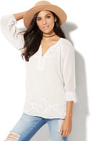 New York & Co. Embroidered Chiffon Blouse