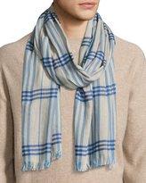 Begg & Co Cottlea Men's Plaid Cotton-Linen Scarf, Cream/Blue
