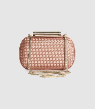 Reiss BELSIZE SATIN CLUTCH BAG Nude