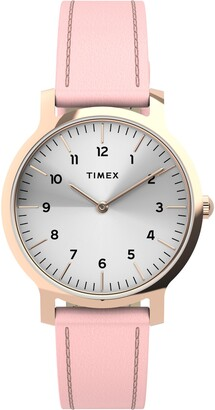 Timex Norway Leather Strap Watch, 34mm
