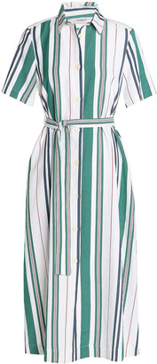 Pringle Striped Linen And Silk-blend Midi Shirt Dress