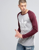 adidas Long Sleeve T-Shirt With Trefoil Logo In Gray AY8250