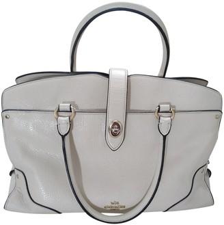 Coach Crossgrain Kitt Carry All Ecru Leather Handbags
