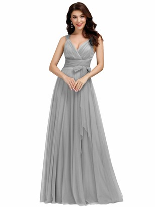 Ever Pretty Ever-Pretty Women's V Neck Floor Length Fit Pleated Sleeveless Evening Dresses Blush