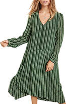 Hush Silk Sorrel Long Sleeve Dress, Green Stripe