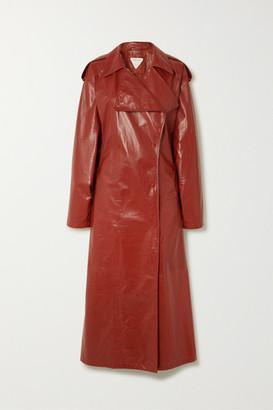 Bottega Veneta Crinkled Glossed Leather Trench Coat - Orange