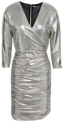 Alice + Olivia Wrap-effect Ruched Lame Mini Dress